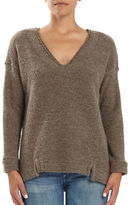 Three Dots Frayed Trimmed V-Neck Sweater