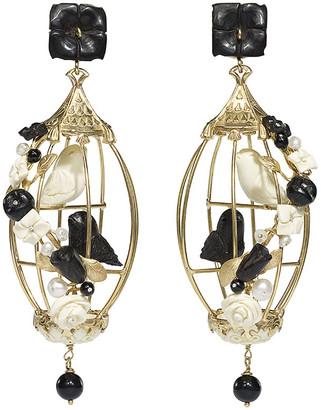OF RARE ORIGIN Lovebirds Onyx Drop Earrings, Black/White