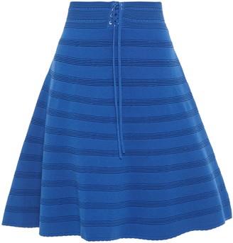 Sandro Flared Pointelle-trimmed Ribbed-knit Skirt