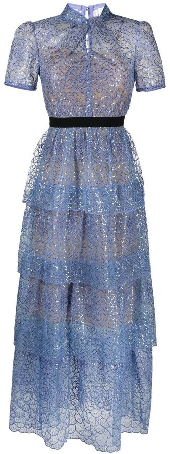 Thumbnail for your product : Self-Portrait Sequin-Embellished Scalloped Dress
