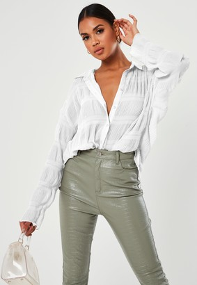 Missguided Tall White Sheer Crinkle Extreme Oversized Shirt