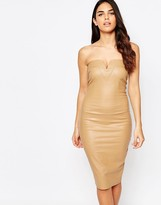 AX Paris Bodycon Bandeau Dress in Wet Look With Notch Detail