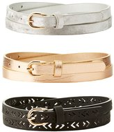 Charlotte Russe Plus Size Metallic, Laser Cut & Velvet Belts - 3 Pack