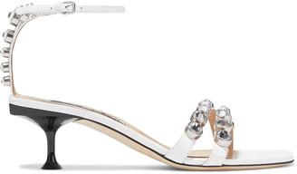 Sergio Rossi Sr Milano 50 Crystal-embellished Leather Sandals