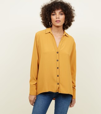 New Look Open Collar Contrast Stitch Shirt