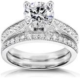 Ice 1 1/3 CT DEW Moissanite Polished 14K White Gold Bridal Set with Diamond Accents