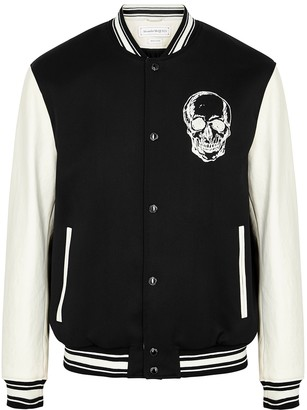 Alexander McQueen Monochrome wool and leather bomber jacket
