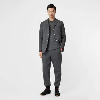 Burberry Stripe Detail Stretch Wool Neoprene Tailored Jacket