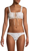 Embroidered Corset Bikini Top