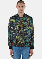 Gucci Men's Satin Tropical Print Bomber Jacket In Black And Green