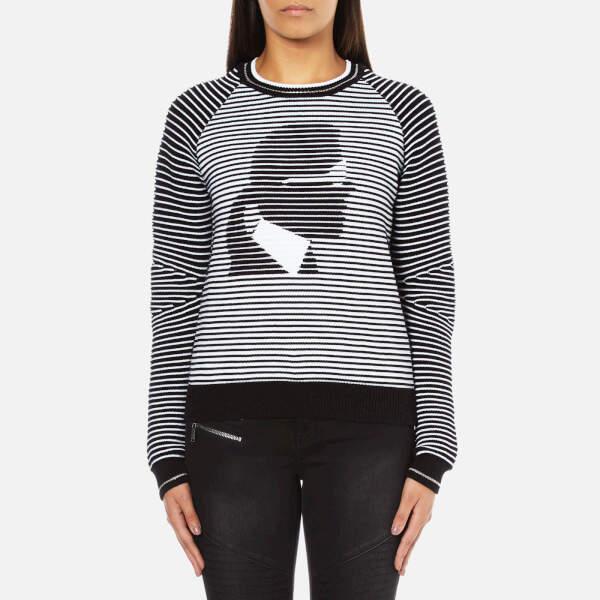 Karl Lagerfeld Women's Head Jacquard Sweatshirt Black/White