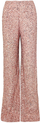 Jenny Packham Sequined Chiffon Wide-leg Pants