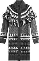 RED Valentino Alpaca-Virgin Wool Cardigan with Fringing
