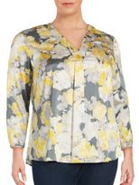 Lafayette 148 New York Printed Oversized Silk-Blend Top