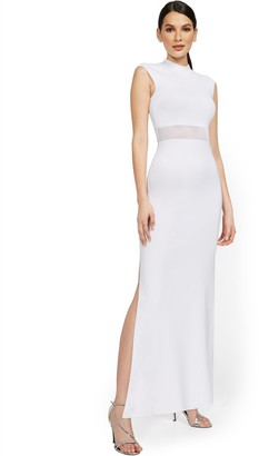 New York & Co. Petite Cap-Sleeve Slit-Leg Maxi Sweater Dress