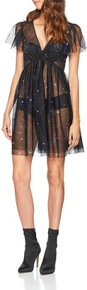 New Look Women's Galaxy Mesh Embellished Skater Party Dress