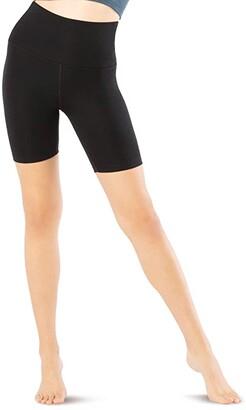 Beyond Yoga Heather Rib High Waisted Biker Shorts (Black Heather) Women's Shorts