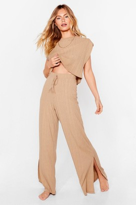 Nasty Gal Womens Oh Screw Slit Ribbed Wide-Leg Pants Lounge Set - Stone