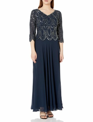 J Kara Women's 3/4 Sleeve with Scallop Beaded Pop Over Gown