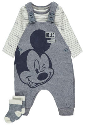 Disney George Mickey Mouse Dungarees Bodysuit and Socks Outfit