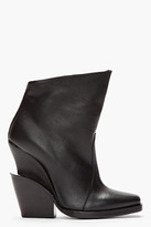 Theyskens' Theory Black leather Elerie Aova tiered-heel boots