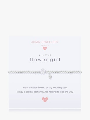 Joma Jewellery Sterling Silver Plated A Little Flower Girl Bracelet, Silver