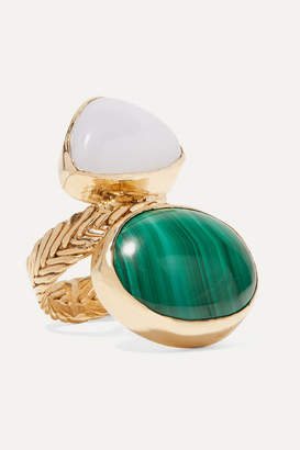 Isabella Collection Stvdio STVDIO Gold-tone, Malachite And Chalcedony Ring - Green