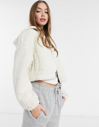 Pimkie borg fleece zip jacket in cream
