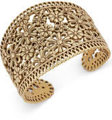 Lucky Brand Gold-Tone Flower and Lace Cuff Bracelet