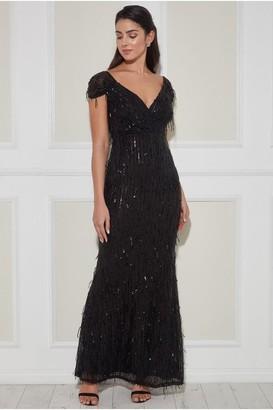 Goddiva Front Wrap Hanging Sequin Maxi Dress - Black