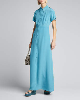 Diane von Furstenberg Georgia Point-Collar Long Shirt Dress