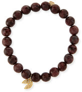 Sydney Evan Jewelry 8mm Faceted Red Garnet Beaded Bracelet with 14k Gold Diamond Fortune Cookie Charm