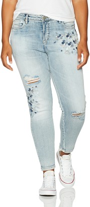 Silver Jeans Women's Plus Size Izzy High-Rise Ankle Skinny Jeans with Embroidery