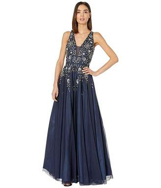 Adrianna Papell Beaded Mesh Long V-Neck Gown