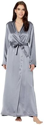 La Perla Silk Long Robe (Silver) Women's Robe