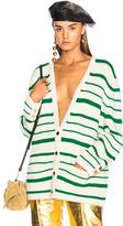 Loewe Gold Button Stripe Cardigan in Green,Stripes,White.