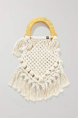 Nannacay Lotus Fringed Macrame And Wicker Tote - Off-white