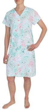 Miss Elaine Floral-Print Short Sleeve Snap Robe