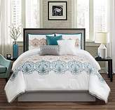 Chezmoi Collection Serenity 7-piece Teal/Gray/White Embroidered Medallion Pattern Bedding Comforter Set (California King)