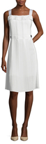 Oscar de la Renta Ruffle Squareneck Grosgrain Fit And Flare Dress