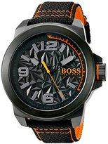 HUGO BOSS BOSS Orange Men's 'NEW YORK' Quartz Resin and Canvas Casual Watch, Color:Black (Model: 1513343)