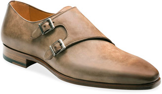 Magnanni Men's Ezra Double-Monk Burnished Leather Loafers