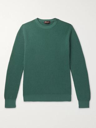 Loro Piana Girocollo Riverside Garment-Dyed Ribbed Cashmere Sweater