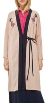 Topshop Women's Tiger Embroidered Duster Coat