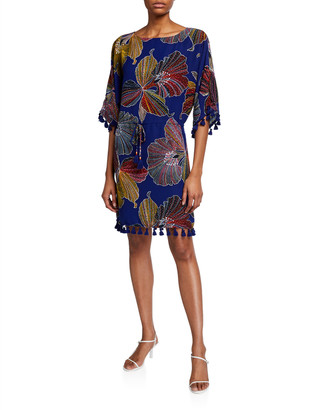 Trina Turk Spring Tassel-Trim Shift Dress