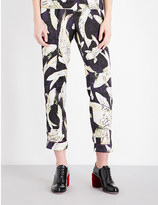 Erdem Hiro Pond-print cropped silk-satin trousers