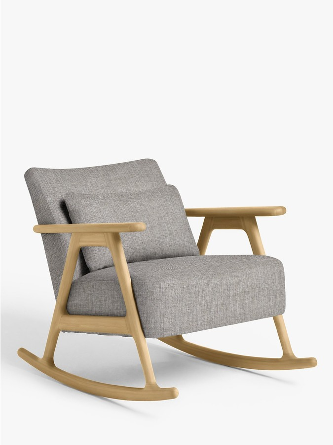 John Lewis & Partners Hendricks Rocking Chair, Light Wood Frame, Stanton French Grey