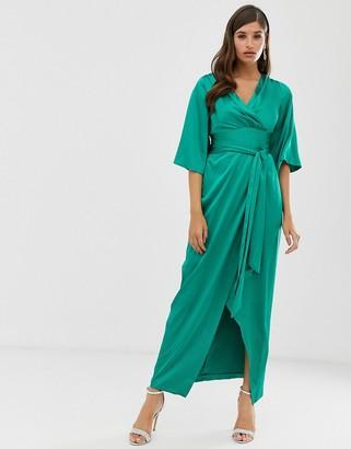 Closet London Closet maxi tie wrap dress-Green