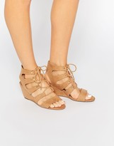 Head Over Heels By Dune Kadence Sand Ghillie Wedge Sandals