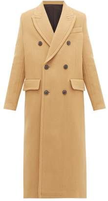 Ami Double Breasted Virgin Wool Blend Coat - Womens - Camel
